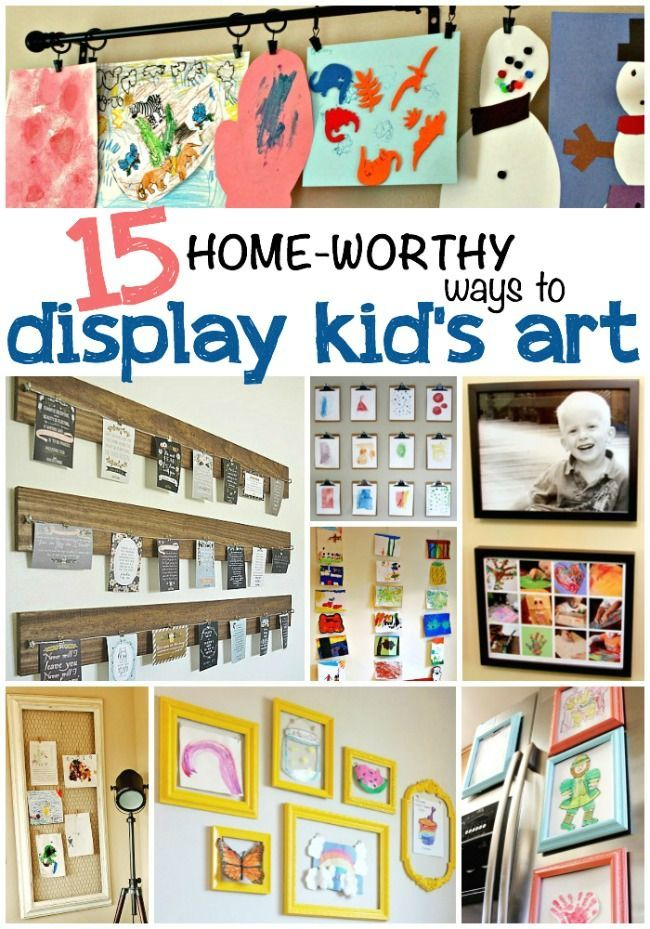 15 Ways to Display Kids Art: Besides the Fridge! Gah! I love so many of these! We have so many pieces of art floating around the house - I am going to do several of these!
