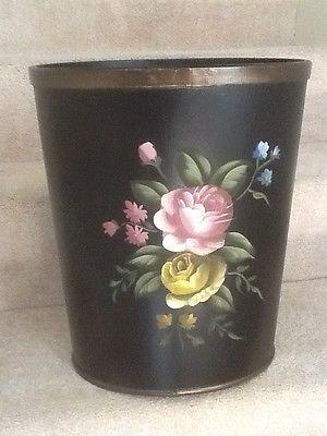 Vintage Victorian Style Pink Rose Waste Basket