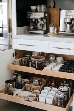 Coffee Station Ideas — HEATHER BULLARD - - Helpful tips and ideas for organizing a beautiful kitchen coffee station. Diy Kitchen Storage, Kitchen Drawers, Home Decor Kitchen, Kitchen Organization, Home Kitchens, Teal Kitchen, Kitchen Ideas, Country Kitchen, Organization Ideas