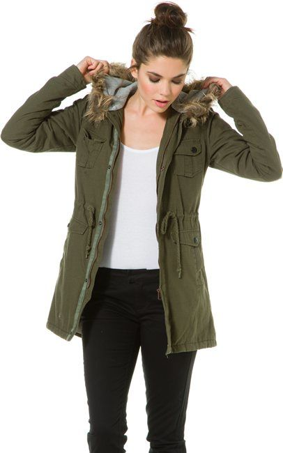 Olive green jacket for womens