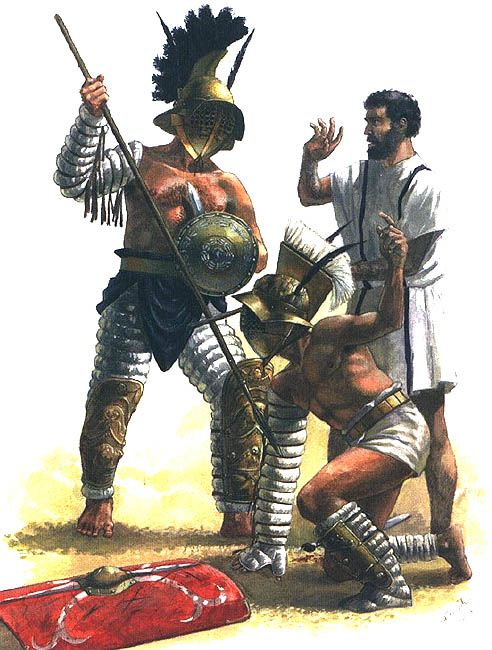 The finale of a combat between a hoplomachus and a myrmillo. The myrmillo has thrown off his shield and raised a finger begging for mercy