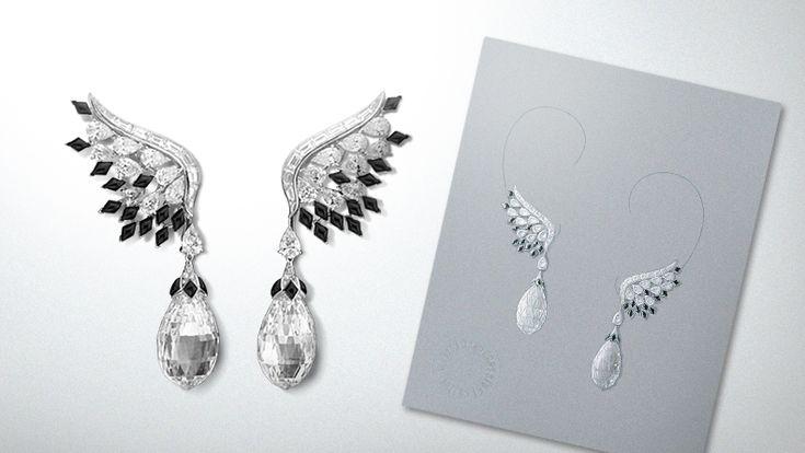 Black & White colored earrings, Bals de Légende collection / Black & White colored earrings drawing, Van Cleef & Arpels' Archives.