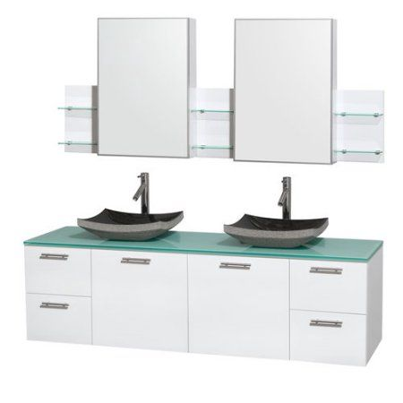 Wyndham Collection Amare 72 inch Double Bathroom Vanity in Glossy White, White Man-Made Stone Countertop, Arista White Carrera Marble Sinks, and Medicine Cabinets