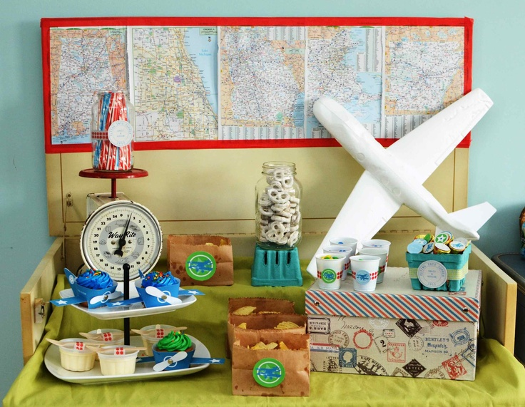 Boy birthday party ideas and supplies spaceships and for Airplane party decoration ideas