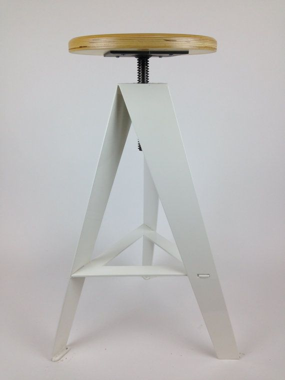 Bar Stool, White Powder Coated Base, Baltic Birch Plywood Seat, furniture, swivel, rustic, modern, metal, industrial, adjustable height,