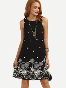 Black Polka Dot Print Sleeveless Shift Dress