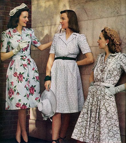 1940's Fashion - can we take a moment and appreciate that they're all dressed in flattering, well fitted clothes? Sexy without showing a lot of skin, relatively comfortable, and not trying too hard. Impossible nowadays.