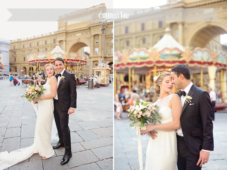 Destination wedding in Italy, Tuscany, Florence Wedding Dress by Anna Campbell Lovely bride in Tuscany Wedding at the Castle (Castello di Vincigliata Firenze)  Romantic wedding in Tuscany Big flower wedding bouquet Lace wedding dress Carrousel in Florence