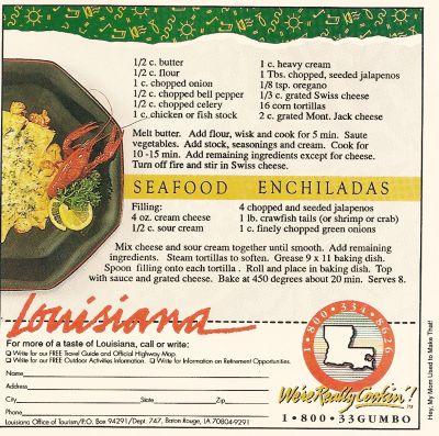 Seafood enchiladas recipe from 1991 Louisiana Tourism ad