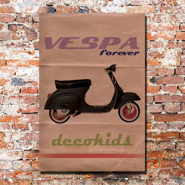 Cuadro Vintage de Vespa para decoración en habitación juvenil.