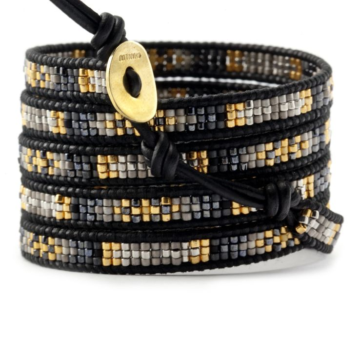 Gold Mix Beaded Wrap Bracelet on Natural Black Leather - Chan Luu