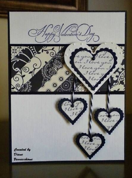 Stamps: Inkadinkado   Paper: K DCWV   Ink: Black   Accessories: Heart Nesties, Twine, Pearls, Swiss Dots Emb. FolderSplitcoast Stampers, Dangle Heart, Hanging Hearts, Black And White, Heart Valentine, Black White, Paper Crafts, Anniversaries Cards, Heart Cards