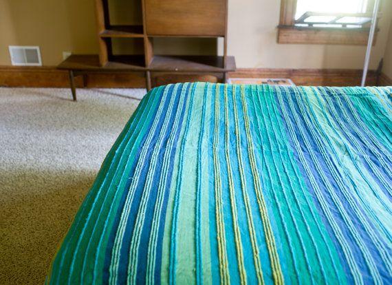 Vintage Indian Bedspread - Blue Green Handmade Bed Sheet Vintage Indian Blanket Bohemian Blanket