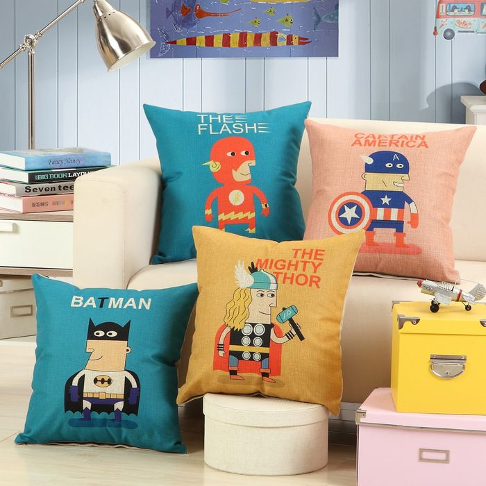 Super Hero pillows! These get a strong-arm-emoji from us.