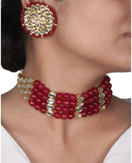 Preorder Asmee Necklace set-Maroon