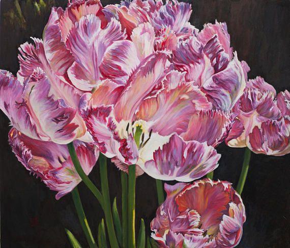 Oil Painting Tulips of Earlshall Original Artwork Flemish