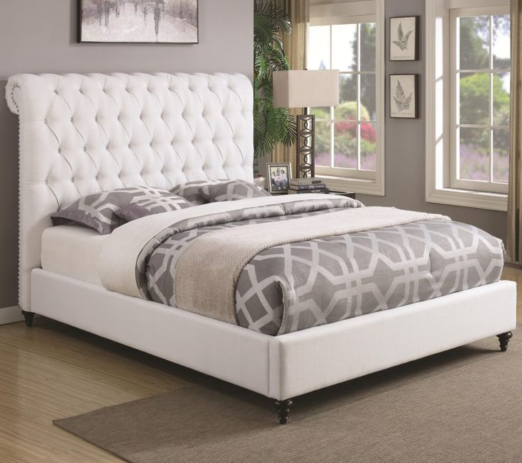 White Fabric Queen Bed Frame