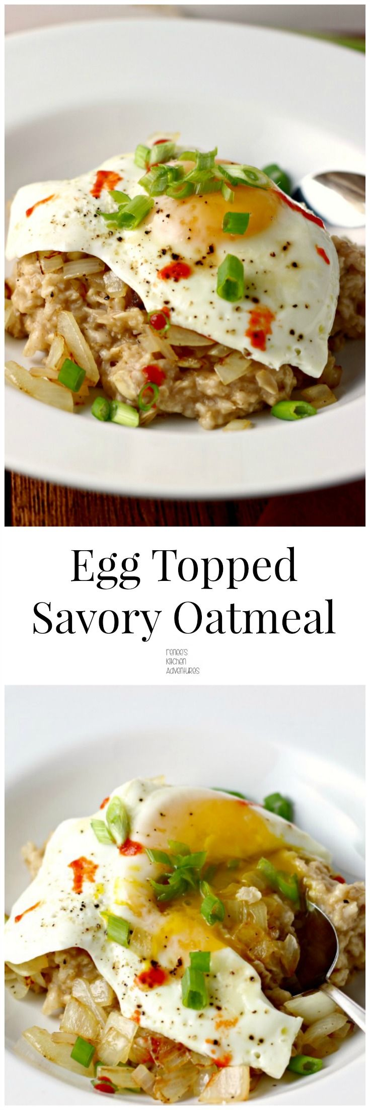 Egg-Topped Savory Oatmeal. You've got to give this a try!! Something different for breakfast, lunch or dinner!