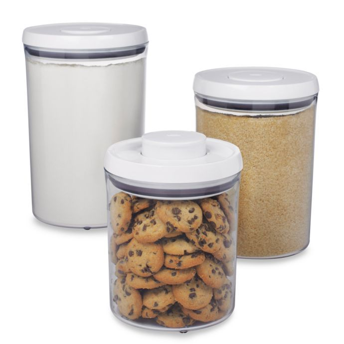 Oxo Good Grips 3 Piece Pop Canister Set Bed Bath Beyond Food Storage Containers Canister Sets Glass Canister Set