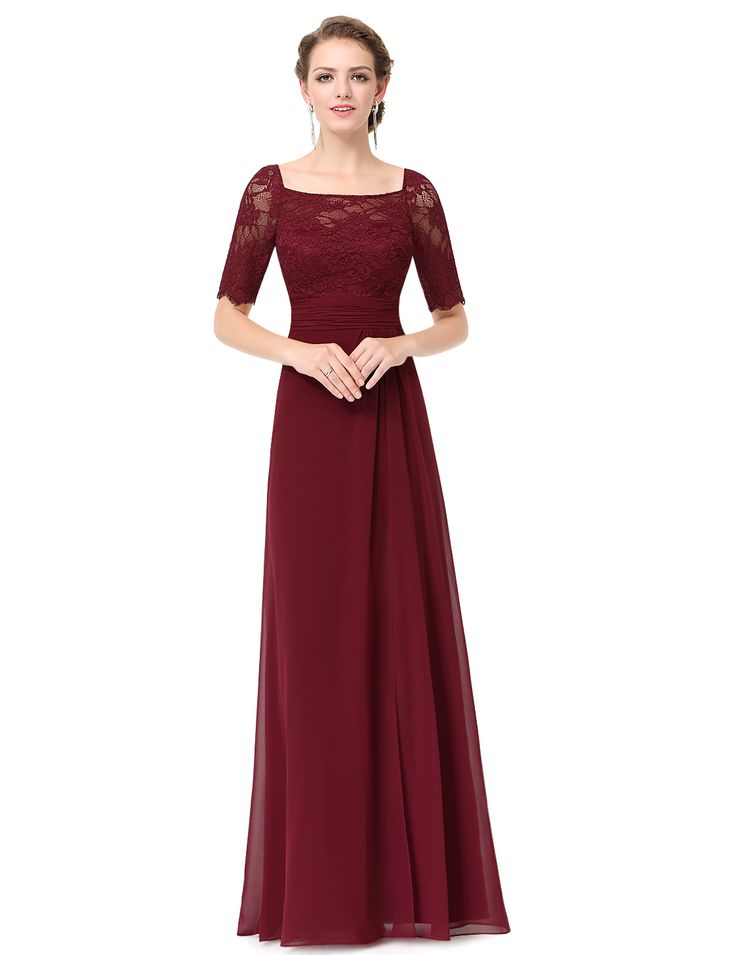 Burgundy Chiffon Lace Bodice Short Sleeves Bridesmaid Dress With Split - Dresses