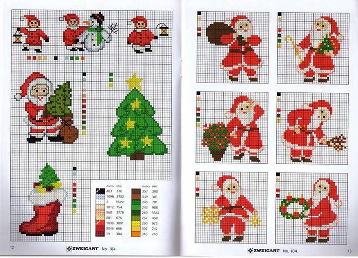 Σχέδια για κέντημα σταυροβελονιά με Αγιοβασίληδες , Χριστουγεννιάτικες κάλτσες και κεριά   Cross stitch Santa Claus , Christmas st...