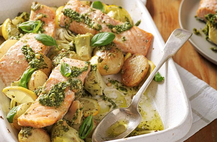 A quick & simple salmon, artichoke & potato pesto bake recipe is light, zesty & healthy, perfect for spring. Discover more fish recipes at Tesco Real Food.