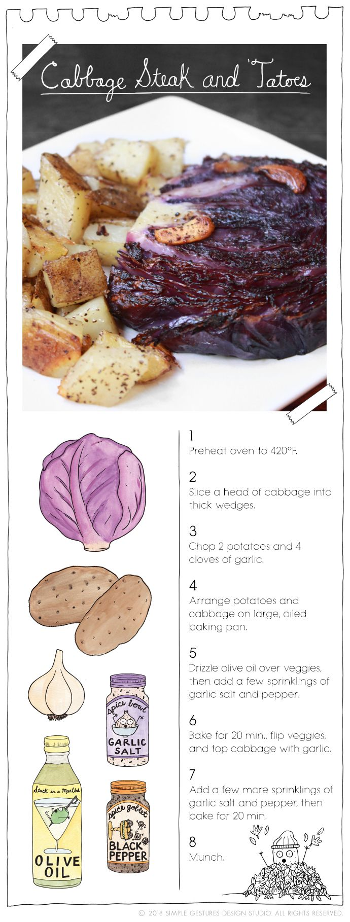 Recipe: Cabbage Steak and 'Tatoes  by The Vegan Stoner  More at: TheVeganStoner.com