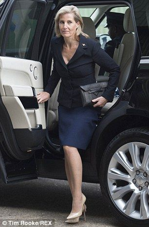 9/29/2014: Sophie, Countess of Wessex arrives at RAF Wittering (Peterborough, Cambridgeshire)