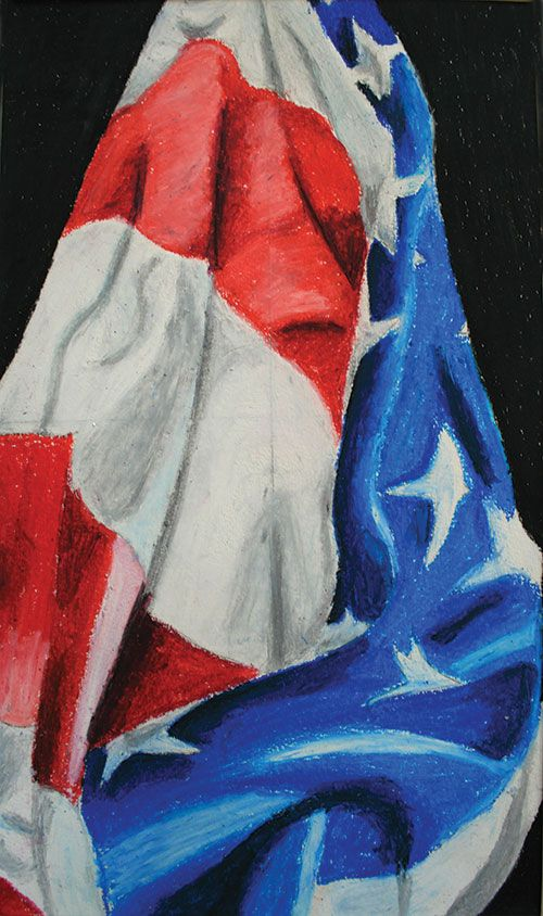 Lesson Plan-Oil pastel flag drawings by High School students. Arts and Activities online magazine