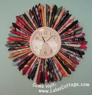 Sunburst clock. Make with old magazines! I want to do this for the screenporch :)