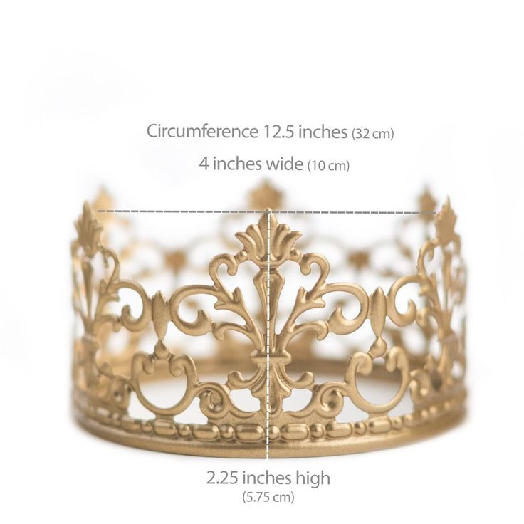 Petite gold crown Meet Jane. She's our most popular crown. With her delicate fleur de lis design, her quaintness sits pretty on the top tier of a wedding cake. - BEAUTIFUL ON YOUR CAKE - Perfect for f