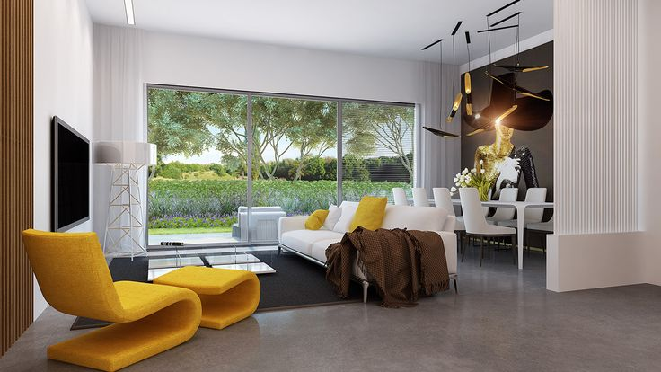 yellow accent in living space area   http://www.home-designing.com/2014/08/say-yes-to-yellow-4-apartments-that-flaunt-yellow-accents