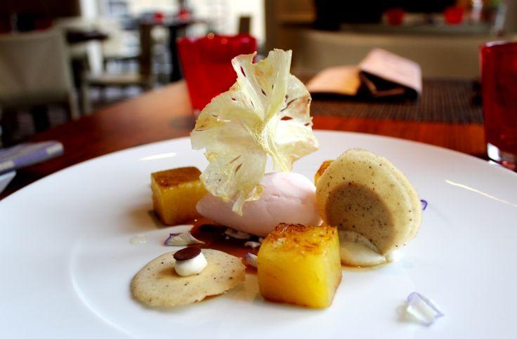 Roasted pineapple with cardamom, Dulcey Valrhona chocolate ganache and litchi sorbet.