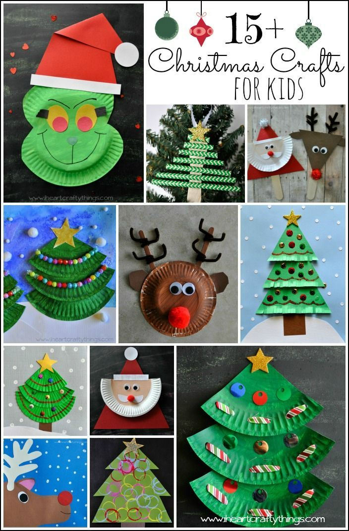 15+ Christmas Crafts for Kids. Find all your fun Christmas Crafts for the season right in one post. Paper Plate Santa, Rudolph and Reindeer Crafts, Christmas Tree Crafts, Christmas Tree Crafts, Kid Made Ornaments and Gift Tags and even stick puppets. From I Heart Crafty Things