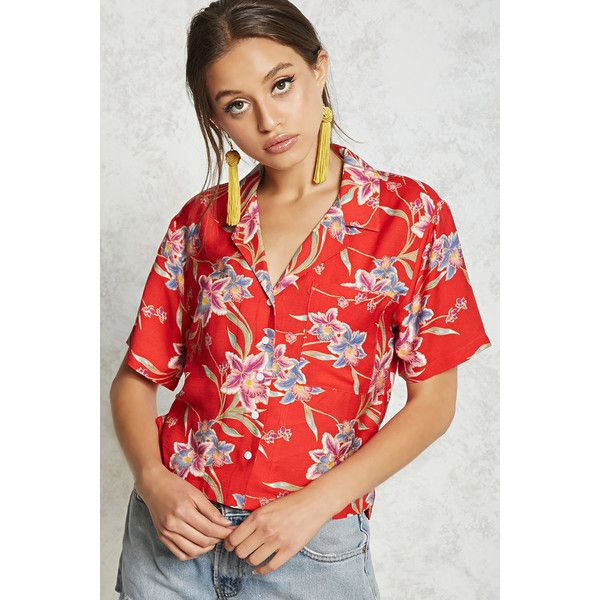 Forever21 Tropical Print Shirt ($18) ❤ liked on Polyvore featuring tops, red shirt, woven top, forever 21 shirts, short sleeve shirts and forever 21
