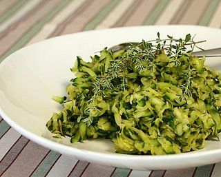 Easy zucchini recipe. Cooked in skillet with vinaigrette, fresh thyme.