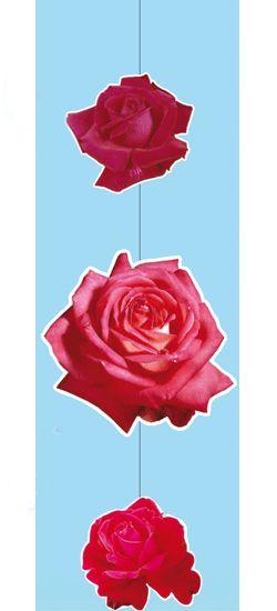 Hang decoratie met rode roosjes. Materiaal: papier/karton. Brandvertragend. Leuk voor trouwerij versiering of voor Valentijn decoratie. Totale lengte: 90 cm. Grote roos: 30 x 30 cm. Kleinere rozen: 18 x 18 cm. Dubbelzijdige bedrukking. Met nylon koord.