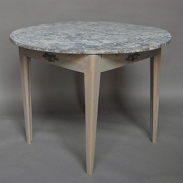 Antique Pair Of Demi Lune Tables With Marbled Tops. Round Tables