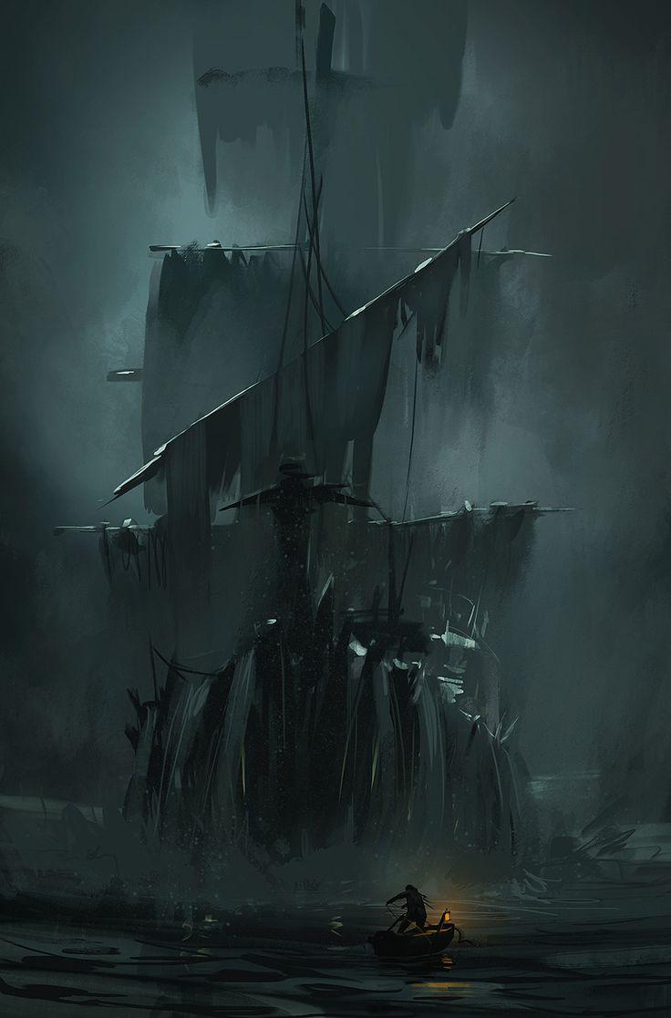 Fantasy ship cliff jolly roger pirate ship rock lightning wallpaper - Quarkmaster No Life Signs Krystian Biskup