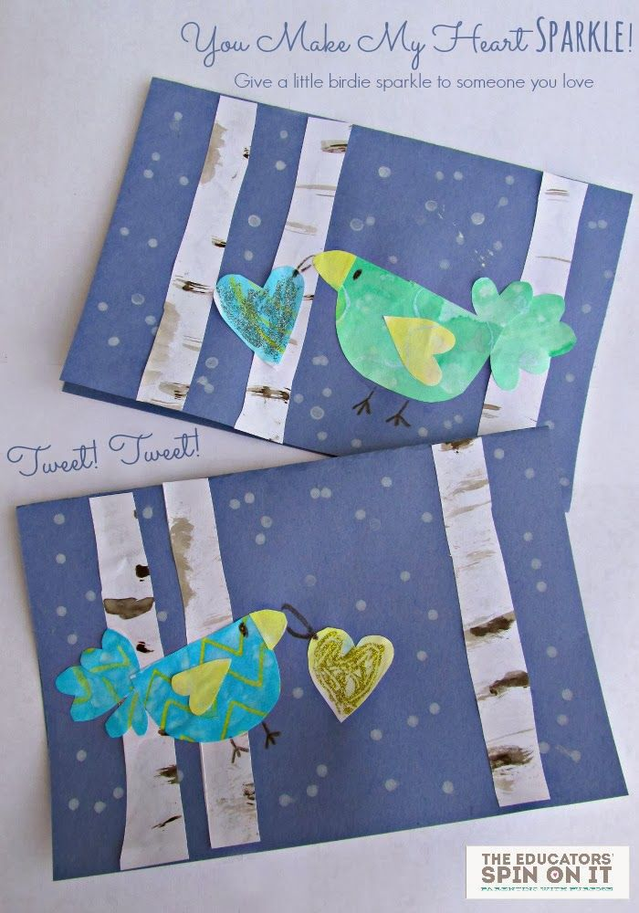 You make my Heart Sparkle! Winter Birds Art Project and Valentine Card idea with printable from The Educators' Spin On It