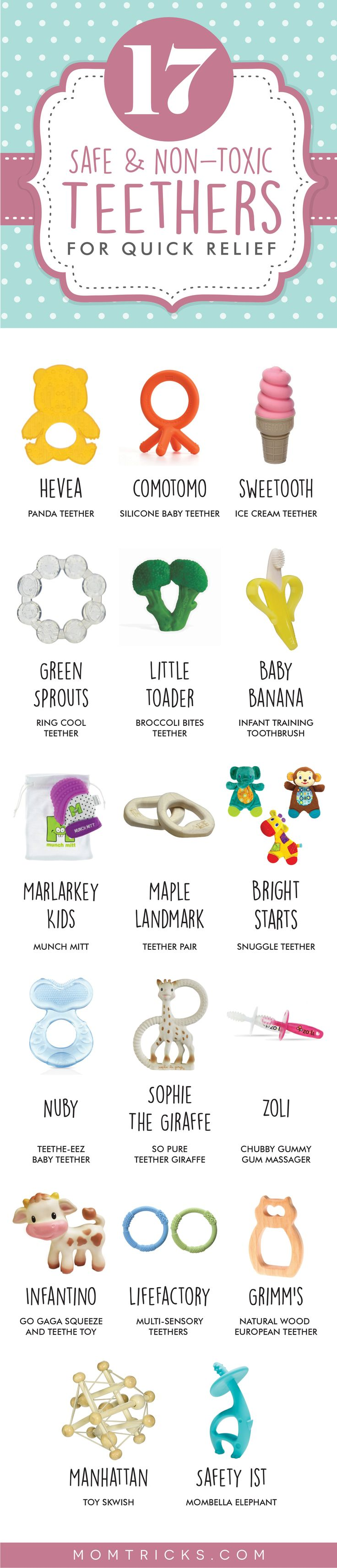 A list of the best teethers for babies! Full of options for non-toxic, natural and safe teethers that are sure to relieve baby's teething pains quickly and efficiently.