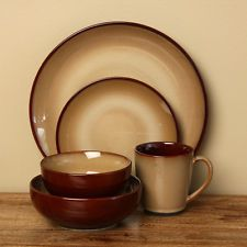 Everyday Rustic Brown Stoneware 40-piece Dinnerware Dishes Set Service For Eight