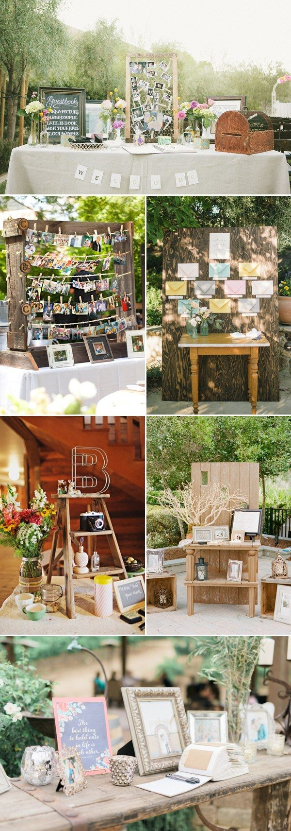 rustic wedding guest book & sign-in wedding decor / http://www.deerpearlflowers.com/35-creative-guestbook-and-sign-in-wedding-table-decor-ideas/