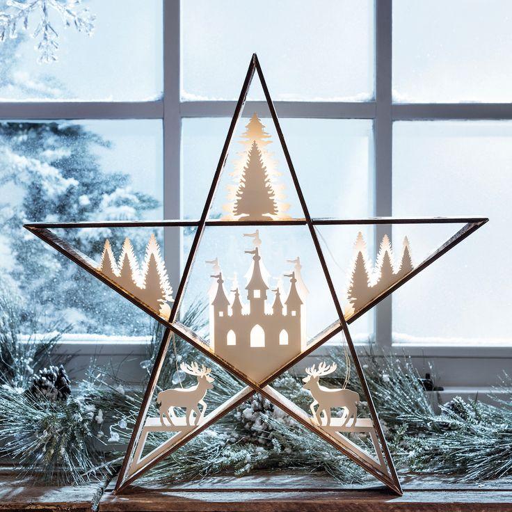 Alberta Forest Star Silhouette Window Light | Lights4fun.co.uk