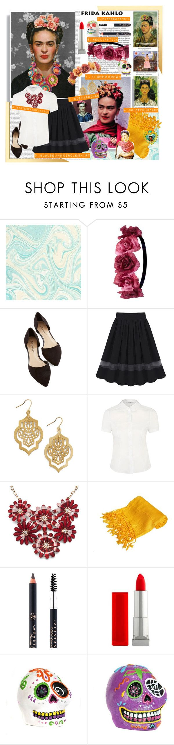 """""""Frida Kahlo DIY Costume"""" by fashionistajane1 ❤ liked on Polyvore featuring Charlotte Russe, Wet Seal, Anastasia, Maybelline and DIYHalloween"""