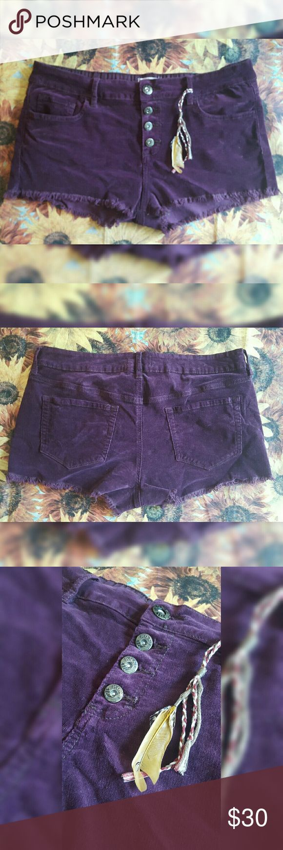 Roxy Burgundy Shorts With Feather Charm Well loved but good condition. THESE SHORTS ARE A BURGUNDY RED COLOR, NOT PURPLE. THE CAMERA CHANGED THE COLORING. Roxy Shorts