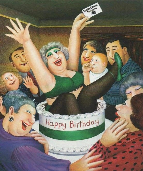 Happy birthday to Beryl Cook, born 10 September 1926. Her instantly recognisable paintings depict informal scenes such as people in pubs, curvaceous women out shopping or girls on a hen night.