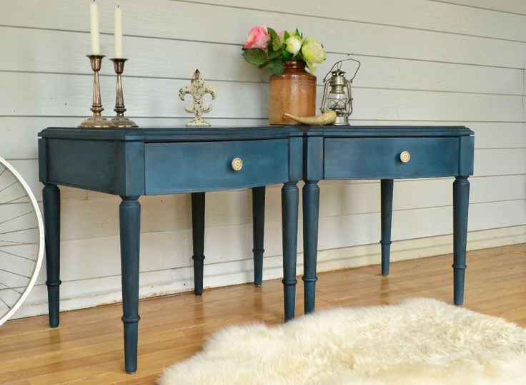 Vintage Dark Ocean Blue Bedside Tables. In Order To Create An  Authentic Looking Aged