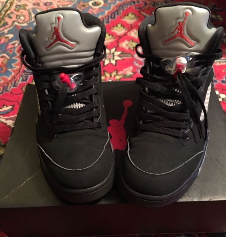 For sale is a pair of Jordan 5 black Metallics 2016 edition. The shoes are