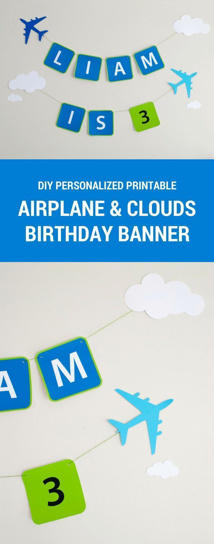 Printable Airplane Happy Birthday Party Banner for a Modern and Classy Airplane or Airport Birthday Party. Just download, type to personalize, cut and hang! #happybirthday #banner #birthdaybanner #boysbirthday #airplane #party